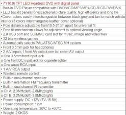 HAV-799 7 inch Headrest DVD 11