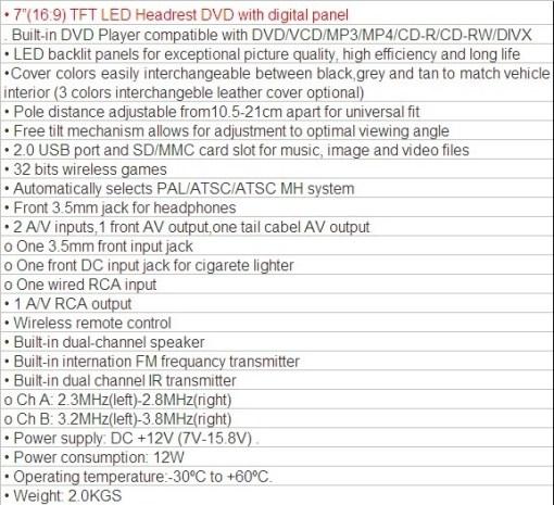 HAV-799 7 inch Headrest DVD 6