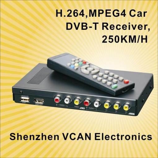 Car DVB-T Receiver MPEG4 H.264 2 tuner 2 diversity antenna Booster Recorder DVBT 7