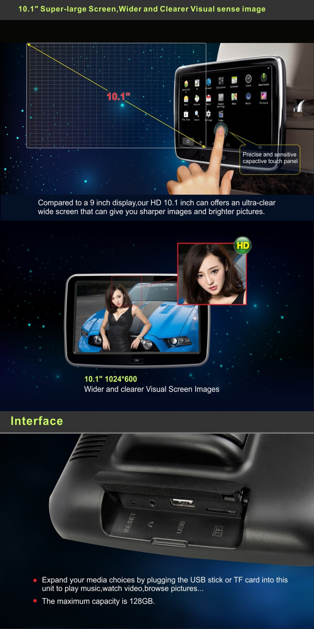 Android Headrest Player 10.1 inch IPS HD Monitor With WiFi Speaker Bluetooth FM transmitter Seat Touch Screen 12V 2PCS Pair 6