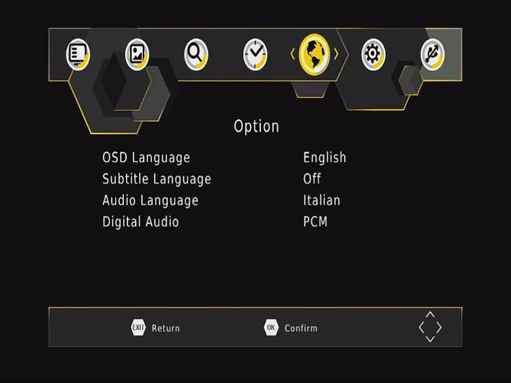 DVB-T265 Option OSD Menu