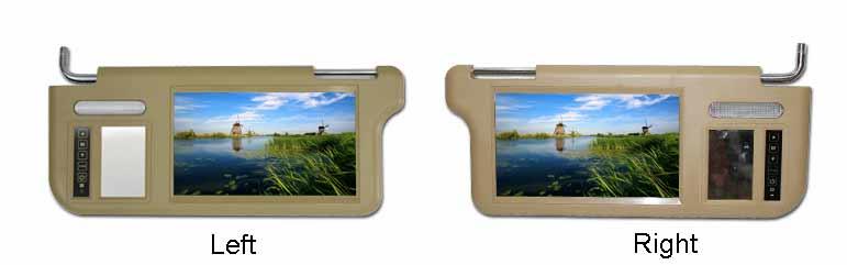 Sun visor monitor left or right