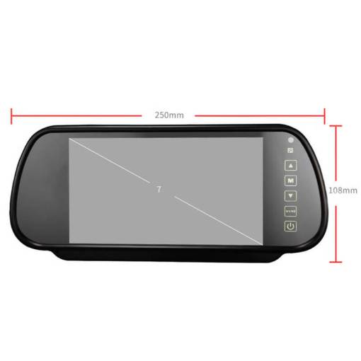 7 Inch Car Mirror Monitor Touch Button Auto Vehicle Parking Rear View Reverse HD Two inputs, install at original mirror RVM-700 2