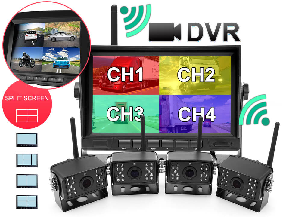 7 inch Wireless DVR quad monitor camera for Truck vehicle with AHD 1280 Night Vision HD Wifi Camera SD card Vcan1667 22