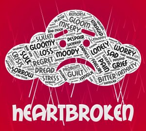 Heartbroken Word Representing Heavy Hearted And Downcast