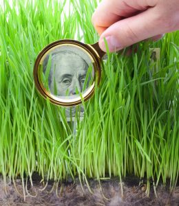 Detail of a One Hundred Dollar Bill Through a Magnifying Glass.