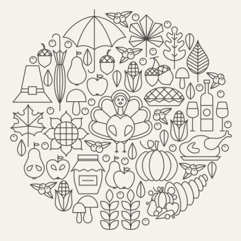 Thanksgiving Day Holiday Line Icons Set Circle Concept. Vector Illustration of Thanksgiving Dinner Autumn Objects. Traditional National Food Items.