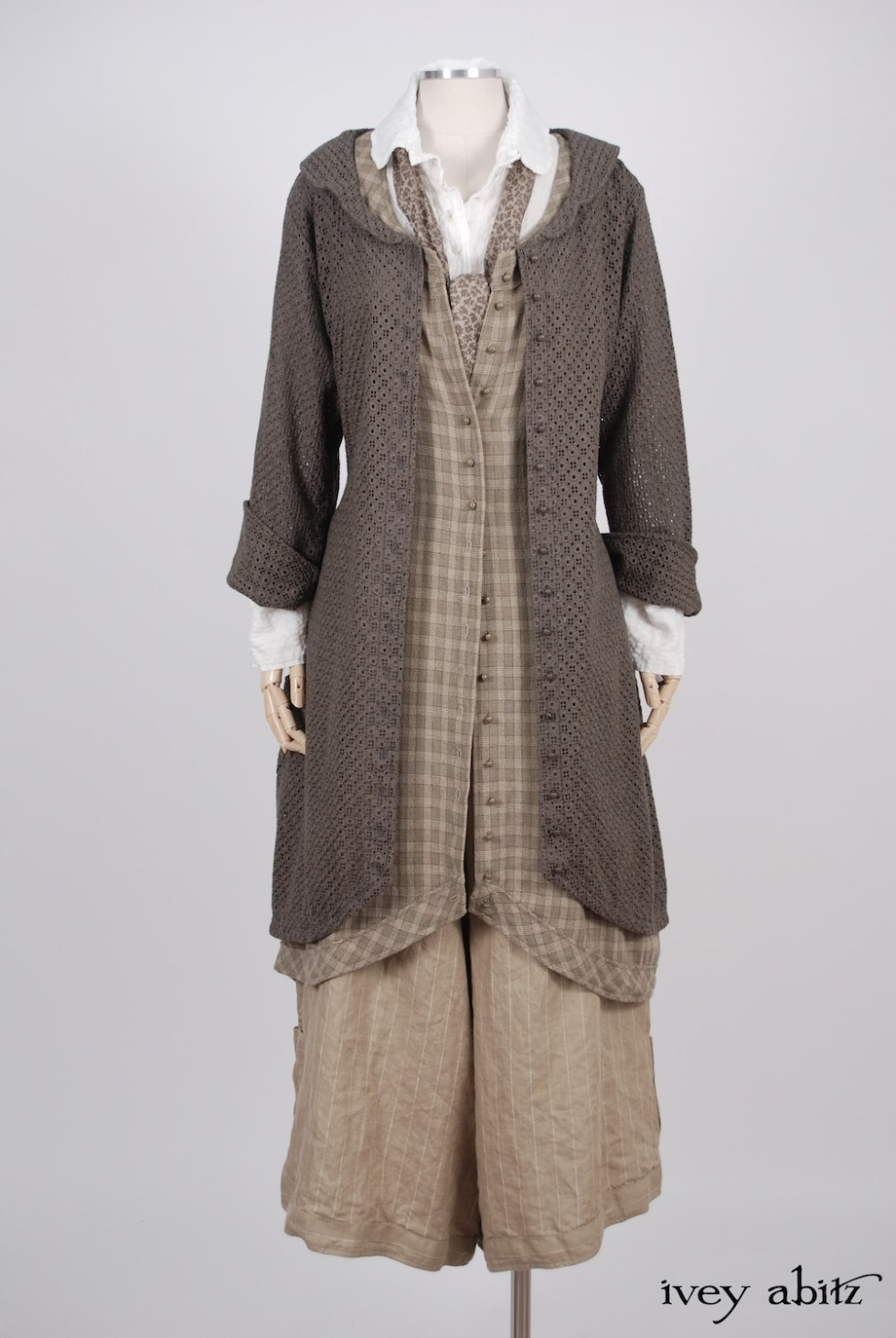 Ivey Abitz - Truitt Duster Coat in Flaxseed Embroidered Eyelet - Truitt Shirt in Dove Striped Voile  - Holkham Hall Necktie in Flaxseed Leafy Silk Linen  - Truitt Frock in Flaxseed Plaid Weave  - Montague Trousers in Sandy Pinstriped Linen, High Water Length