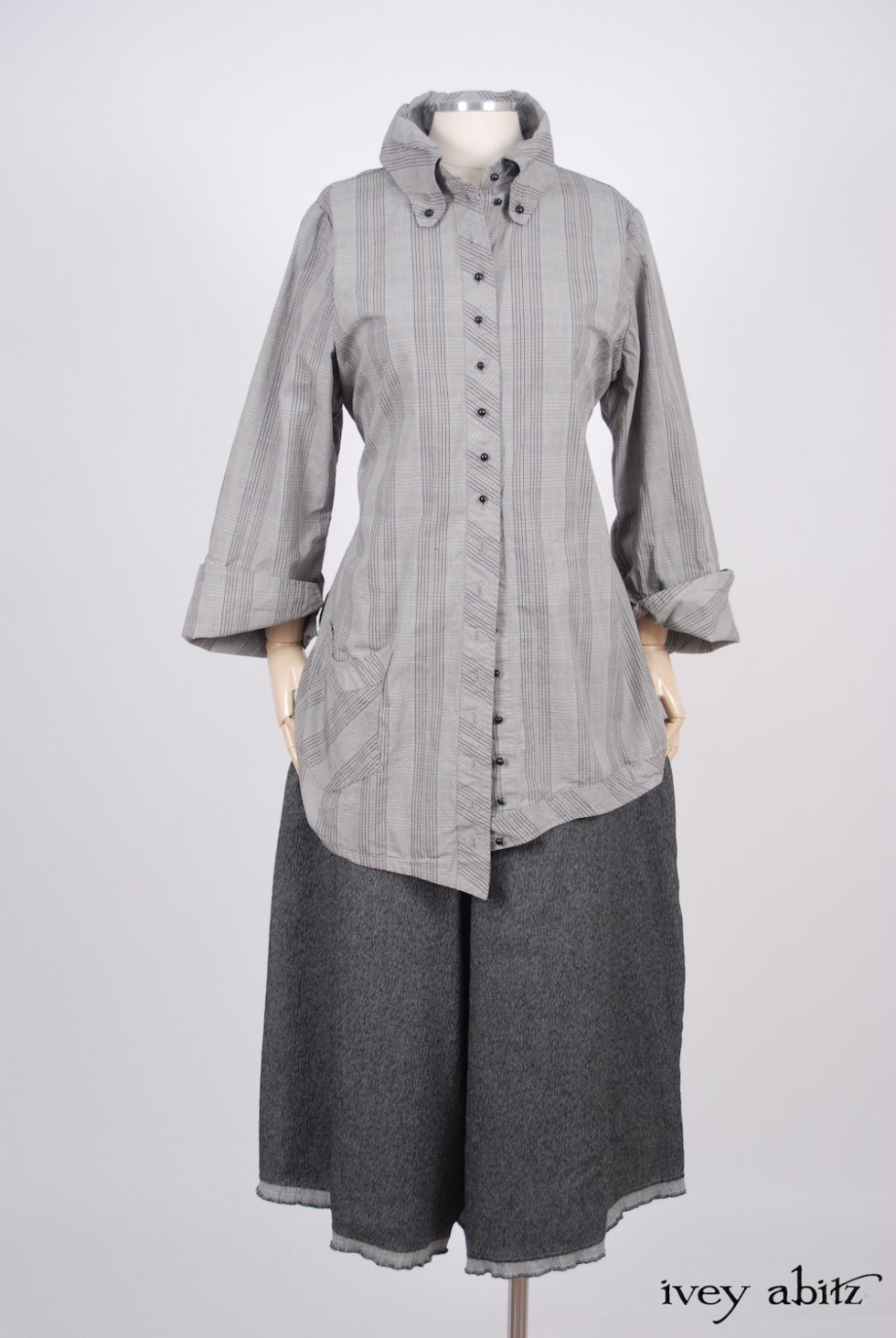 Ivey Abitz - Highlands Shirt in Sparrow Grey Plaid Poplin  - Traipse Trousers in Blackbird Double Layered Weave