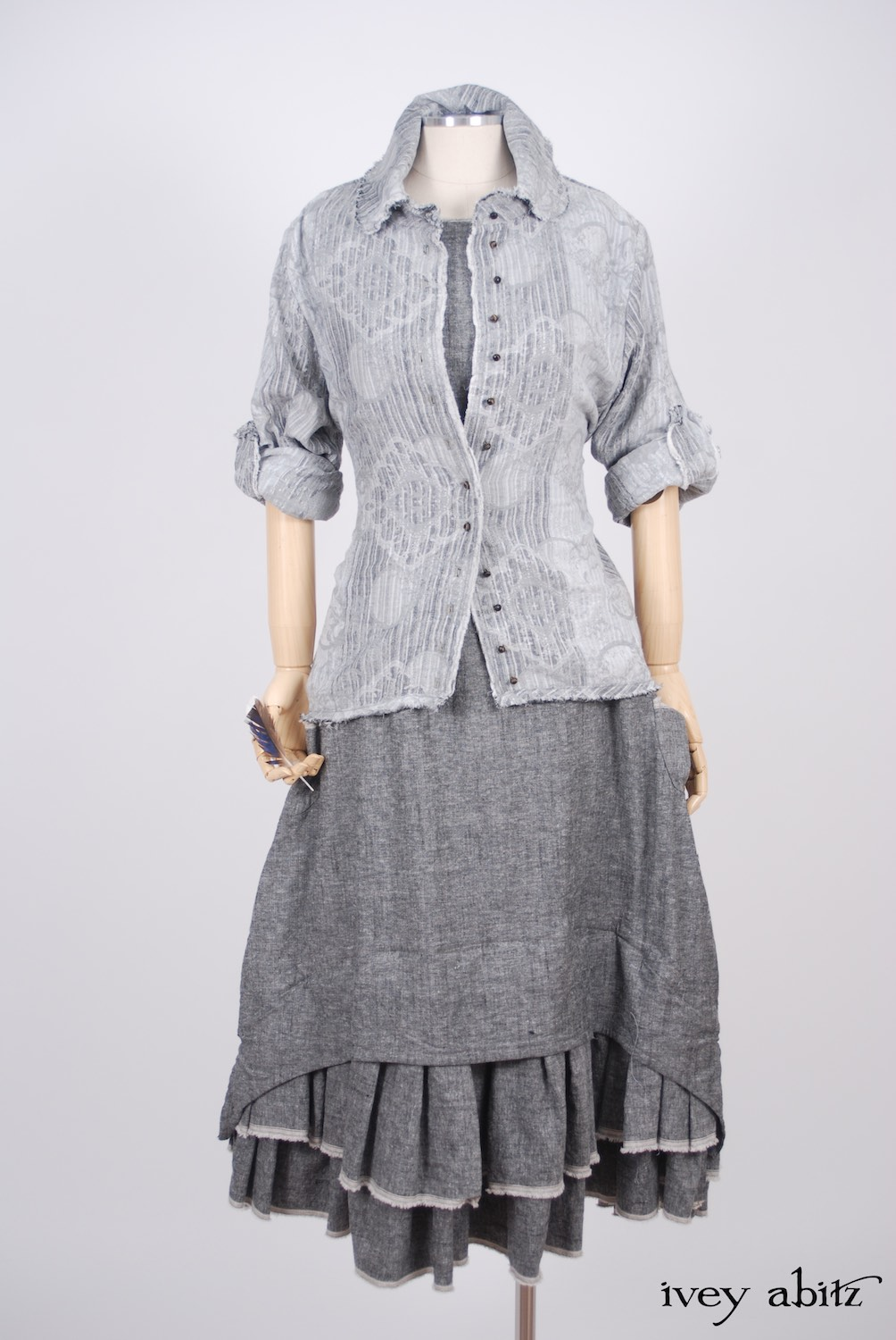 Ivey Abitz - Sollie Shirt in Sparrow Grey Jacquard  - Limited Edition Trelawny Frock in Blackbird/Dove Rustic Weave, High Water Length
