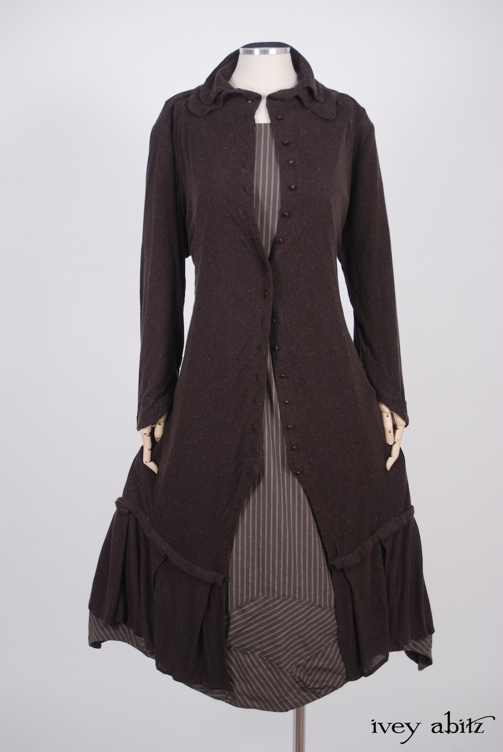 Ivey Abitz - Inglenook Duster Coat in Plumseed Mottled Knit  - Grasmere Frock in Feather Brown Striped Stretchy Cotton, High Water Length