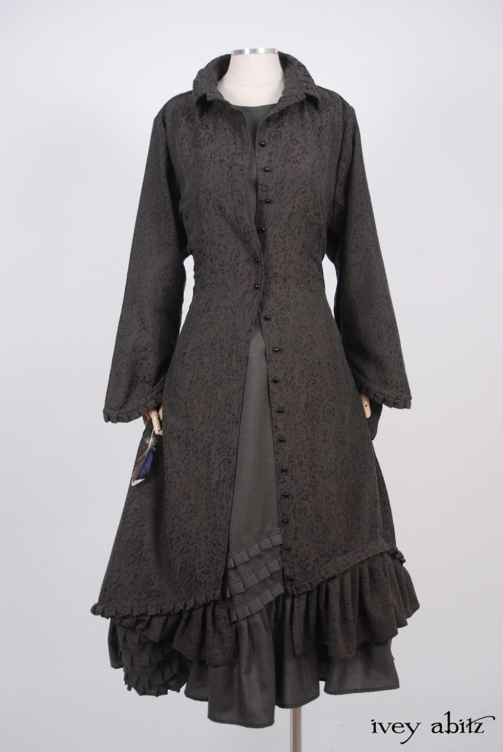 Ivey Abitz - Wilhemena Duster Coat in Moonlit Meadow Vine Weave  - Windrush Frock in Moonlit Meadow Houndstooth, High Water Length