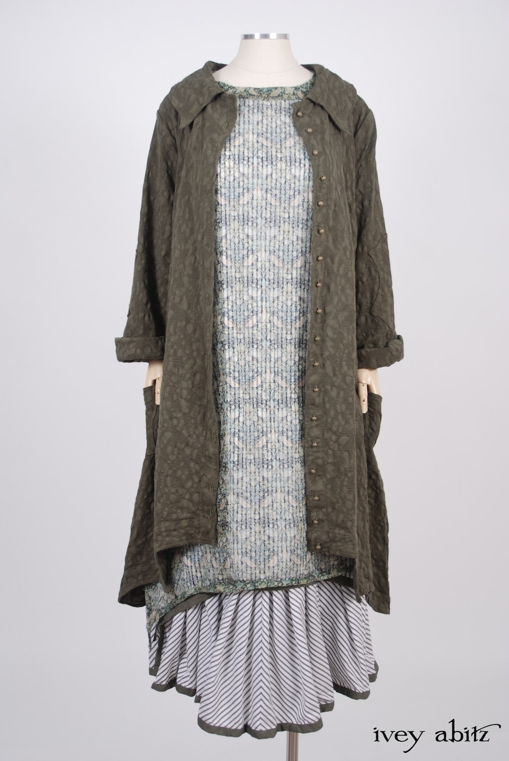 Ivey Abitz - Chittister Duster Coat in Morning Meadow Hemstitch Jacquard  - Wildefield Frock in Bird and Vine Silk Organza  - Limited Edition Striped Blanchefleur Frock in Morning Meadow Striped Cotton, High Water Length