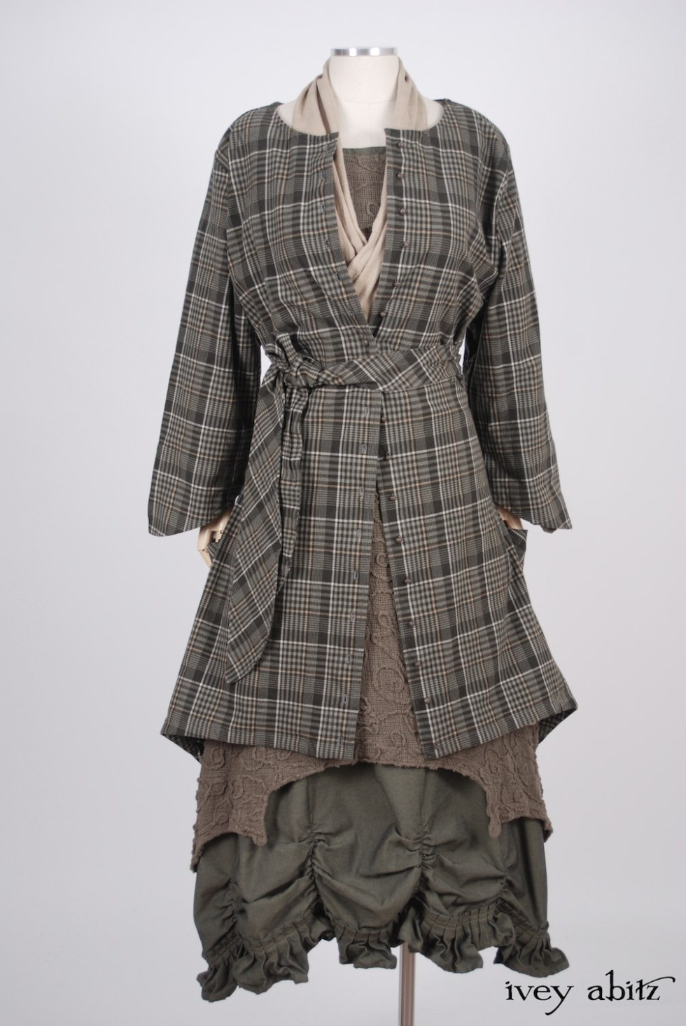 Ivey Abitz - Wildefield Duster Coat in Meadow Stretchy Plaid Cotton, High Water Length - Chittister Dress in Meadow Embroidered Swirl Gauze - Blanchefleur Sash in Blushed Plaid Voile - Edenshire Frock in Morning Meadow Yarn Dyed Cotton, Low Water Length