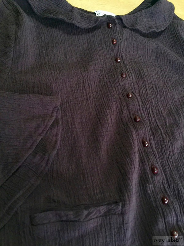 Blanchefleur jacket in plumseed crinkled Linen with antique wooden composition buttons, circa early 1900s by Ivey Abitz