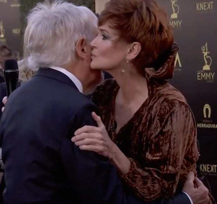 Carolyn Hennesy wears Ivey Abitz on the Emmys red carpet with Sid Krofft, Hollywood Legend