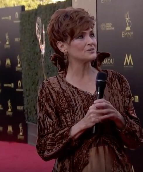 Carolyn Hennesy wears Ivey Abitz on the Emmys red carpet