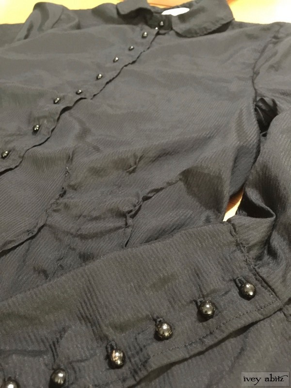 Holkham Hall Shirt in blackbird striped silk voile. Antique wooden composition buttons, circa early 1900's by Ivey Abitz