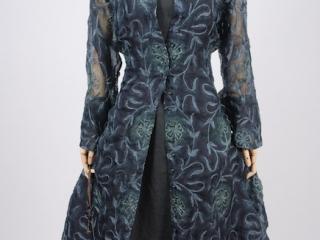 Look 3 - Spring 2018 Ivey Abitz Bespoke - Morningside Duster Coat in Blue Slate Embroidered Silk Organza; Inglenook Frock in Blue Slate Washed Linen, Low Water Length.