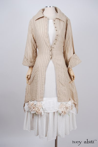 Midsummer Look 11 - Blanchefleur Dress in Dove Striped Voile; Elsie Duster Coat in Antiqued Embroidered Plaid Silk; Limited Edition Chrysanthemum Brooch in by Ivey Abitz