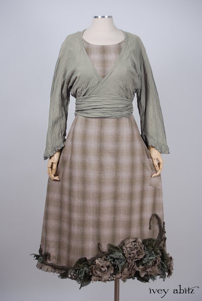 Midsummer Look 16 - Floravinea Frock in Garden Green Washed Plaid Linen; Montmorency Wrap Jacket in Signature Arthurian Green Parchment Cotton Voile by Ivey Abitz