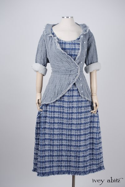 Midsummer Look 9 - Limited Edition Covante Frock in Lake Tufted Plaid Voile; Limited Edition Arthur Hill Shirt in Lake Gauze Linen by Ivey Abitz