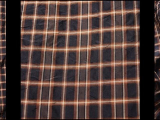 Onyx Copper Plaid Silk Taffeta