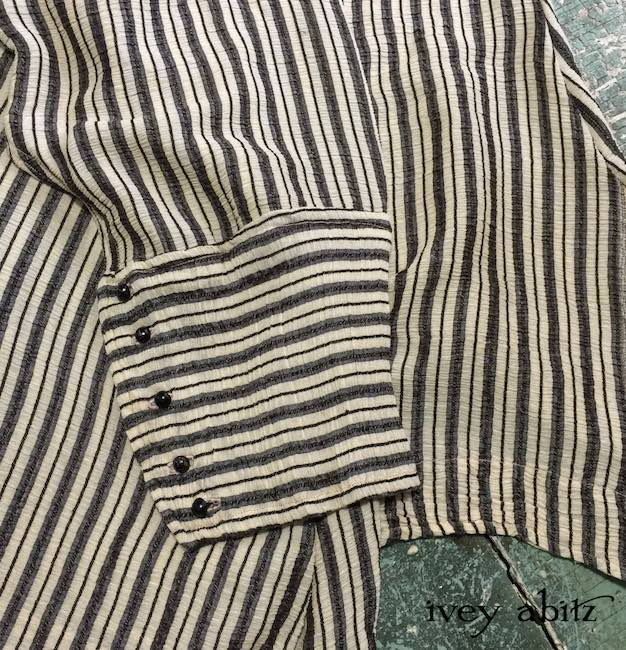Palliser Shirt in Chimney Crinkled Striped Weave with antique wooden composition buttons by Ivey Abitz
