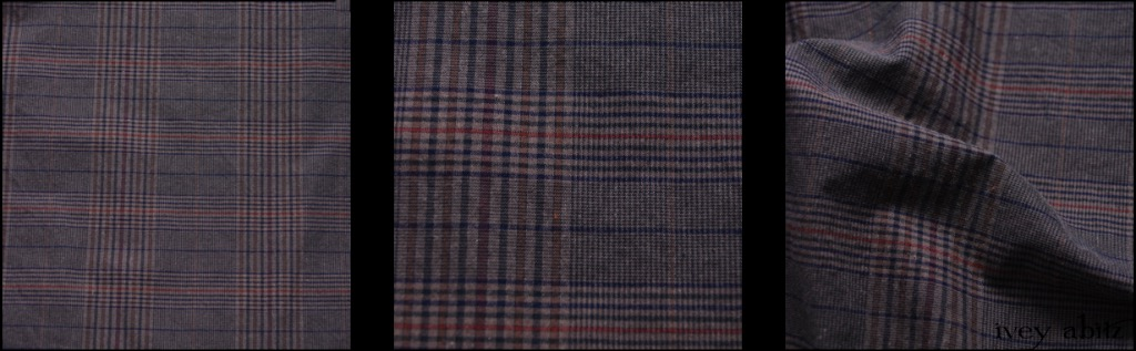Front Gate Sturdy Plaid Poplin - Description: If we had to choose a weave that embraced the palette of the entire collection, this would be the one. Its base is a lovely, muted grey, and the plaid design brings in the other hues in the collection: Red Door, Blue Slate, Brick, and Gable Green. The weave is ideal for a lightweight spring jacket that can be worn over practically any hue from the collection. It's also soft and lovely for a skirt or pair of trousers. Its incredibly tight weave almost makes it wind and rain resistant, but it's not waxed. It has a smart and snappy look, feel, and sound to it. Because of the tight weave, it it smooth against the skin. We put it through special washings to bring out the smoothness and heighten the comfort of the weave. It's an ideal everyday yarn dyed weave that you'll enjoy for years to come.