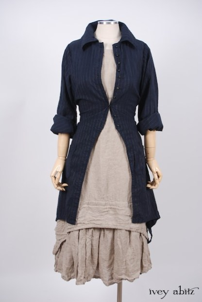 IA101 Elsie Duster Coat in Lakeland Striped Weave