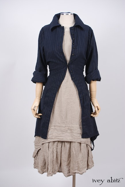 Elsie Duster Coat in Lakeland Striped Weave; Blanchefleur Frock in Natural Old World Linen