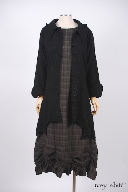 Chittister Shirt Jacket in Inkwell Jacquard Weave; Edenshire Frock in Brindle Plaid Weave