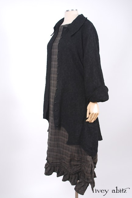 Chittister Shirt Jacket in Inkwell Jacquard Weave; Edenshire Frock in Brindle Plaid Weave by Ivey Abitz - 15