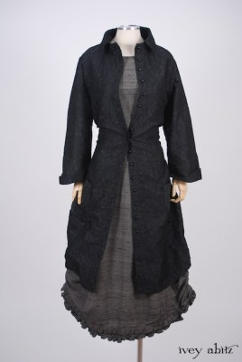 Phinneus Coat Dress in Inkwell Floral Brocade; Canterbury Frock in Wolfie Grey Washed Silk