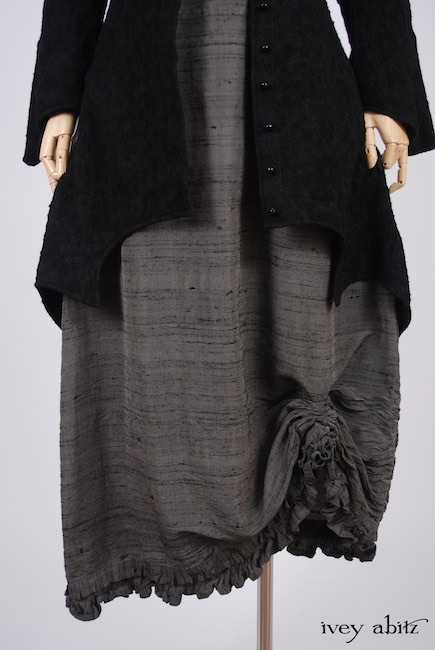 Chittister Shirt Jacket in Inkwell Jacquard Weave; Canterbury Frock in Wolfie Grey Washed Silk