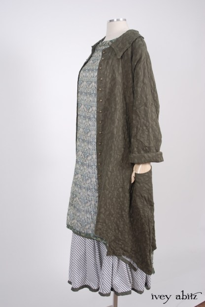 Chittister Duster Coat in Morning Meadow Hemstitch Jacquard - Size Small/Medium