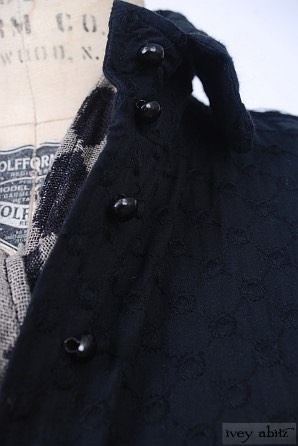 Coulson Coat Dress in Soot Embroidered Tudor Window Pane - Size Medium