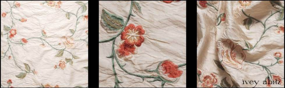 Shore Flower Cream Embroidered Washed Silk