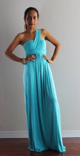 Nuichan - Aqua Maxi Halter Dress - $58