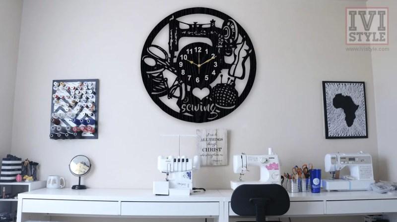 ceas personalizat croitorie lemn
