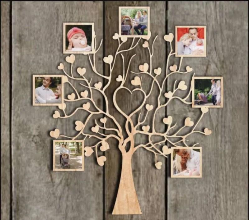 Rama Foto Copac Inimioare din Lemn