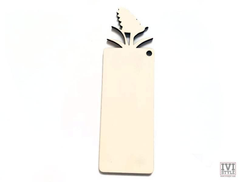semn de carte blank lemn flori 03