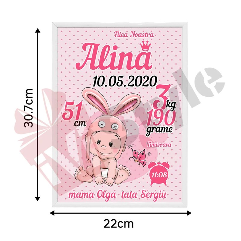 Tablou Personalizat Pentru Copii Iepuras Fetita Roz
