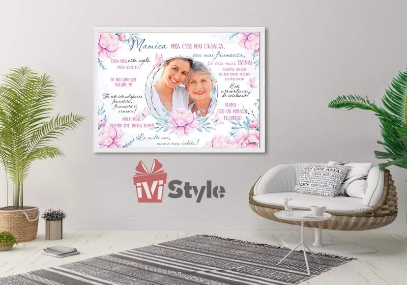 Tablou Personalizat Pentru Mama cu Mesaj si Poza 01