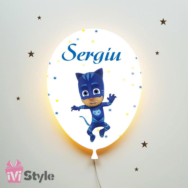 Lampa Personalizata LED Balon Eroi In Pijama Pisoi Sergiu