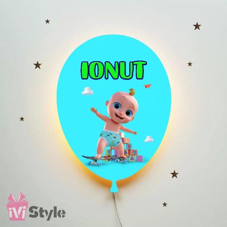 Lampa Personalizata LED Balon Johny Baby Ionut
