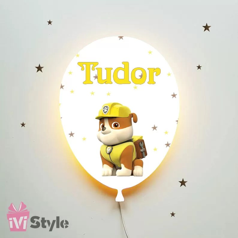 Lampa Personalizata LED Balon Paw Patrol Rubble Tudor