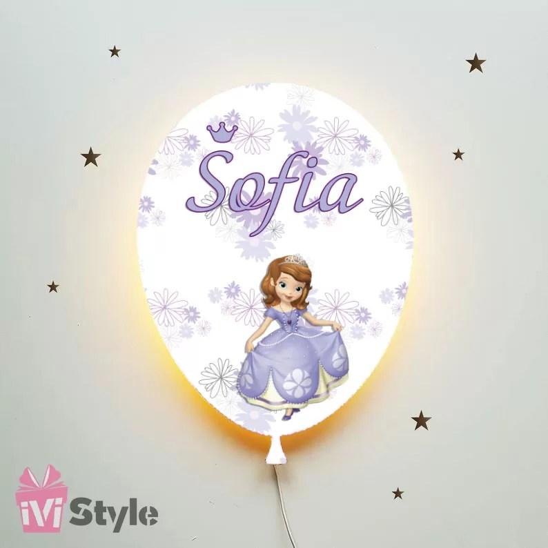 Lampa Personalizata LED Balon Printesa Sofia
