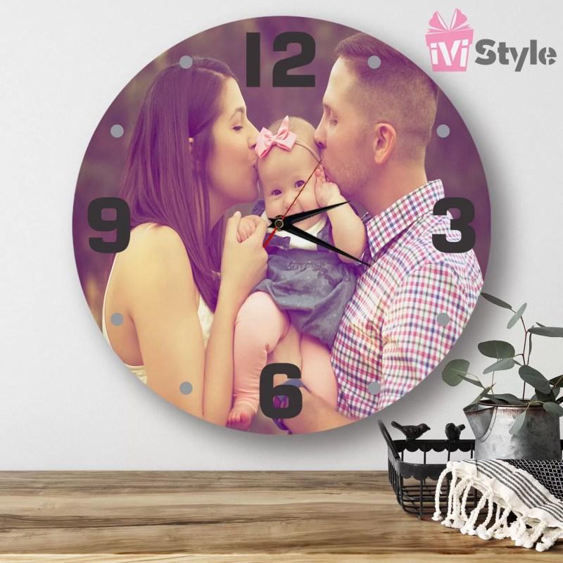 ceas decorativ personalizat cu poza din lemn