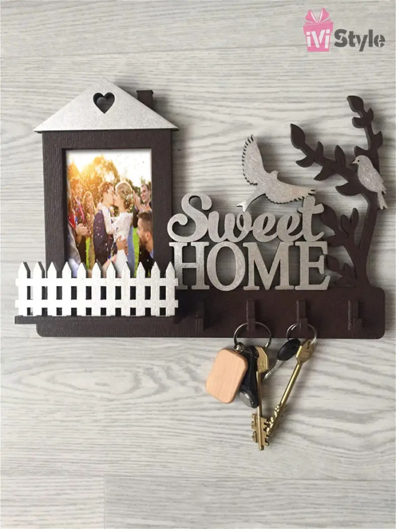 Suport de Chei din Lemn Sweet Home cu Poza